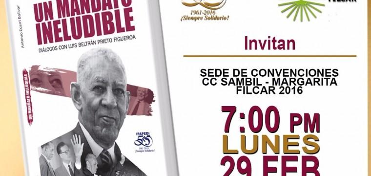 Antonio Ecarri Bolívar presentará su nuevo libro sobre la vida y obra de Luis Beltrán Prieto Figueroa